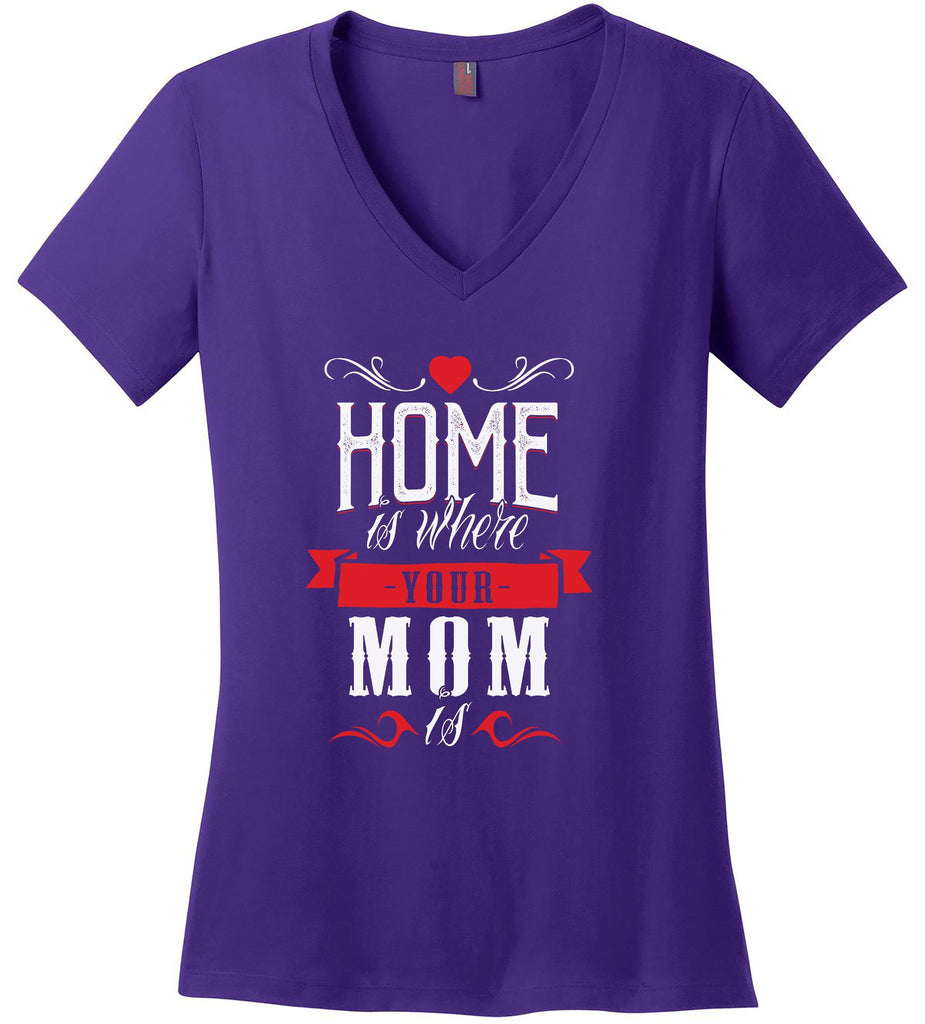 Kent Prints Ladies V-Neck S / Purple Ladies V Neck Tee Mom