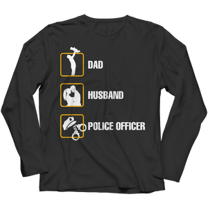 PT Long Sleeve Long Sleeve / Black / 3XL Dad Husband Police Officer  (Long Sleeve)