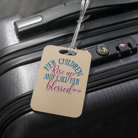 teelaunch Luggage Tags Luggage Tag Children Call Her Blessed (Beige) - Luggage Tag