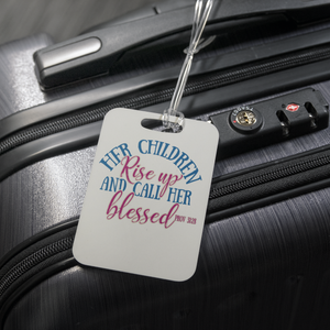 teelaunch Luggage Tags Luggage Tag Children Call Her Blessed (White) - Luggage Tag