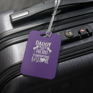 teelaunch Luggage Tags Luggage Tag Daddy A Son's Hero - Luggage Tag