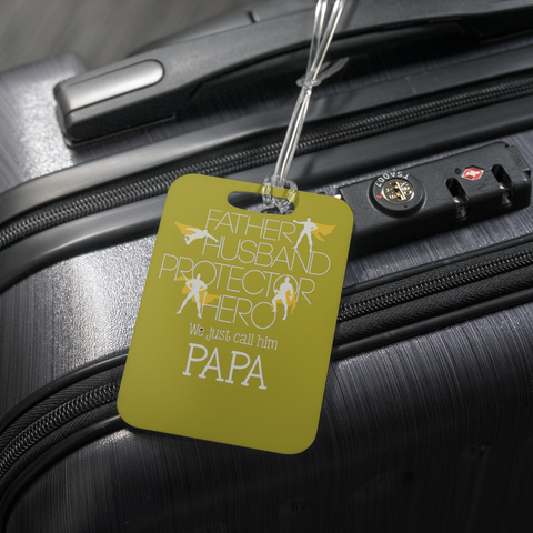 teelaunch Luggage Tags Luggage Tag Father Husband Protector Hero Papa - Luggage Tag