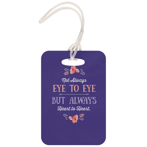 teelaunch Luggage Tags Luggage Tag Not Eye to Eye But Heart to Heart (Purple) - Luggage Tag