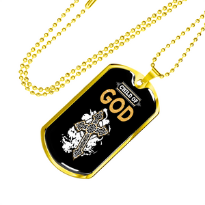 Military Steel Chain Dog Tag - Child Of God (18K Gold Finish)