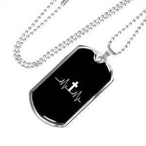 Military Steel Chain Dog Tag - Christian Heartbeat Cross