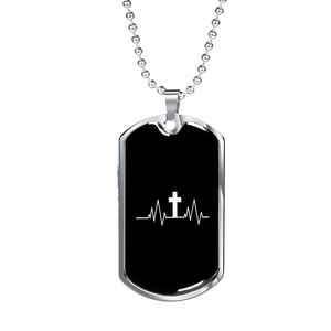 ShineOn Fulfillment Necklaces Dog Tag Military Chain (Silver) / No Military Steel Chain Dog Tag - Christian Heartbeat Cross