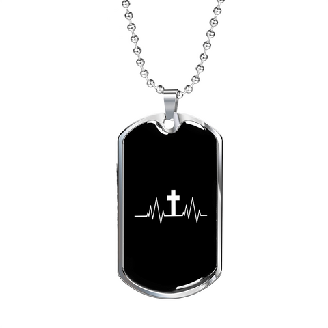 Image of ShineOn Fulfillment Necklaces Dog Tag Military Chain (Silver) / No Military Steel Chain Dog Tag - Christian Heartbeat Cross