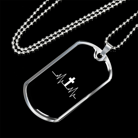 Image of Military Steel Chain Dog Tag - Christian Heartbeat Cross
