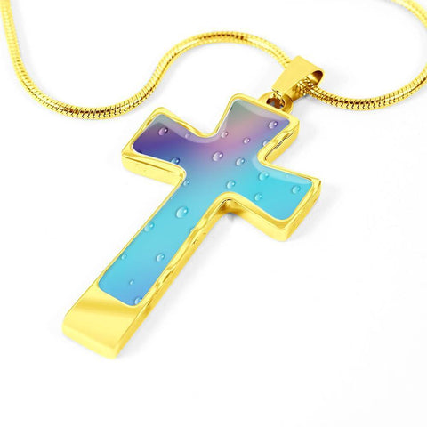ShineOn Fulfillment Necklaces Pendant Cross Luxury Necklace (Gold) / No Luxury Steel Cross Pendant Necklace - Blue Gradient Water Droplets