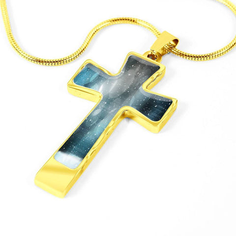 ShineOn Fulfillment Necklaces Pendant Cross Luxury Necklace (Gold) / No Luxury Steel Cross Pendant Necklace - Bokeh Snowfall