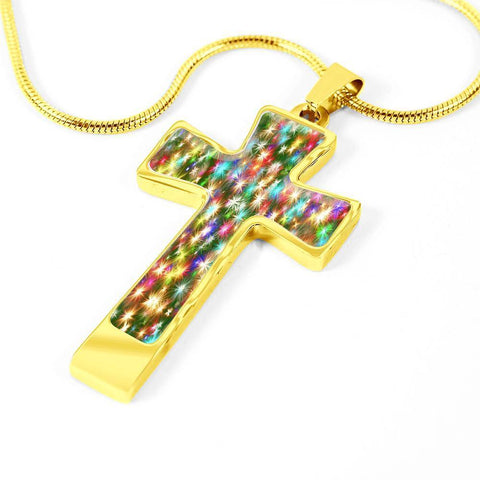 ShineOn Fulfillment Necklaces Pendant Cross Luxury Necklace (Gold) / No Luxury Steel Cross Pendant Necklace - Christmas Sparkles