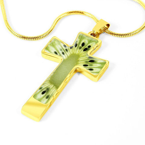 Image of ShineOn Fulfillment Necklaces Pendant Cross Luxury Necklace (Gold) / No Luxury Steel Cross Pendant Necklace - Kiwi