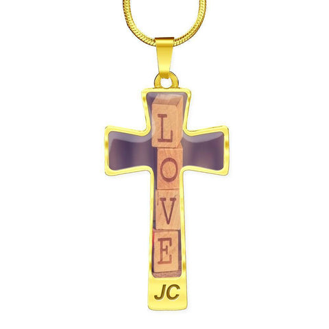 Image of ShineOn Fulfillment Necklaces Pendant Cross Luxury Necklace (Gold) / No Luxury Steel Cross Pendant Necklace - LOVE Wooden Blocks