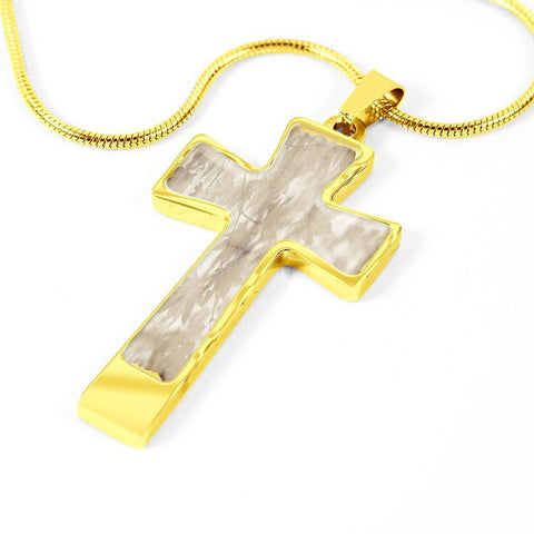 ShineOn Fulfillment Necklaces Pendant Cross Luxury Necklace (Gold) / No Luxury Steel Cross Pendant Necklace - Paper Leaves