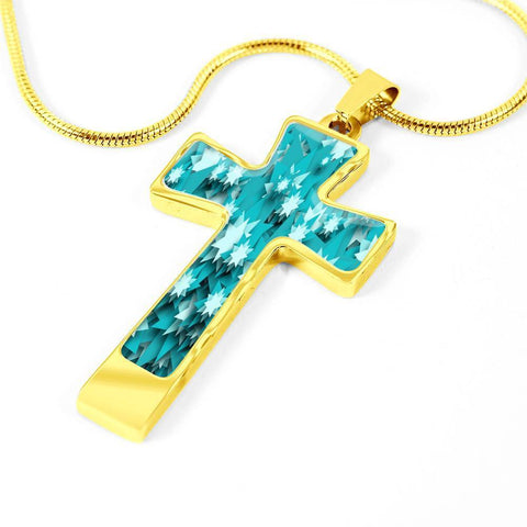 Image of ShineOn Fulfillment Necklaces Pendant Cross Luxury Necklace (Gold) / No Luxury Steel Cross Pendant Necklace - Paper Stars