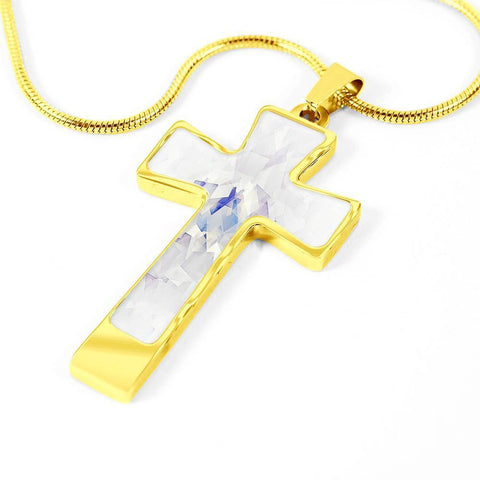 ShineOn Fulfillment Necklaces Pendant Cross Luxury Necklace (Gold) / No Luxury Steel Cross Pendant Necklace - Squares Artpiece