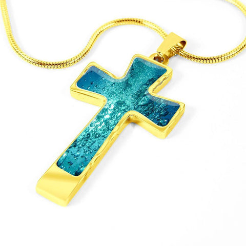 ShineOn Fulfillment Necklaces Pendant Cross Luxury Necklace (Gold) / No Luxury Steel Cross Pendant Necklace - Water Bubbles