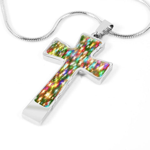 ShineOn Fulfillment Necklaces Pendant Cross Luxury Necklace (Silver) / No Luxury Steel Cross Pendant Necklace - Christmas Sparkles