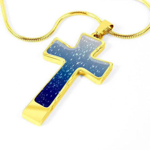 ShineOn Fulfillment Necklaces Pendant Cross Luxury Necklace (Silver) / No Luxury Steel Cross Pendant Necklace - Gradient Nightsky Stars