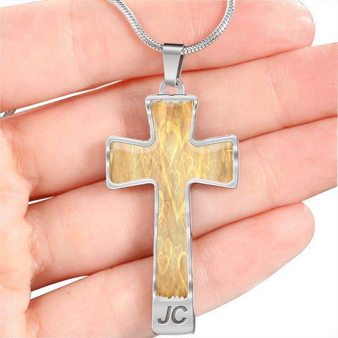 ShineOn Fulfillment Necklaces Pendant Cross Luxury Necklace (Silver) / No Luxury Steel Cross Pendant Necklace - Heart Outlines