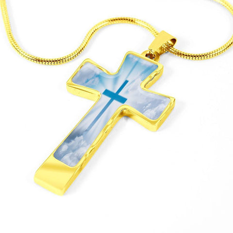 ShineOn Fulfillment Necklaces Pendant Cross Luxury Necklace (Silver) / No Luxury Steel Cross Pendant Necklace - Holy Cross