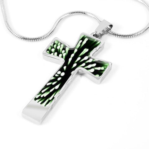 ShineOn Fulfillment Necklaces Pendant Cross Luxury Necklace (Silver) / No Luxury Steel Cross Pendant Necklace - Illuminated Fibers