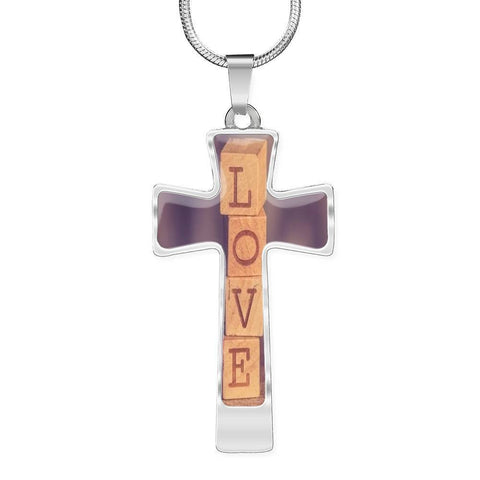 ShineOn Fulfillment Necklaces Pendant Cross Luxury Necklace (Silver) / No Luxury Steel Cross Pendant Necklace - LOVE Wooden Blocks