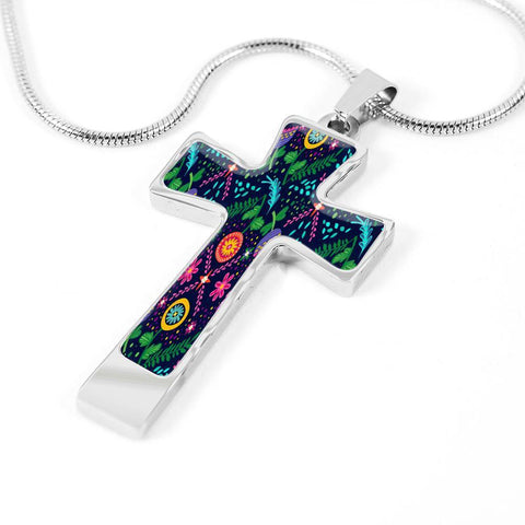 ShineOn Fulfillment Necklaces Pendant Cross Luxury Necklace (Silver) / No Luxury Steel Cross Pendant Necklace - Vibrant Bohemian Print