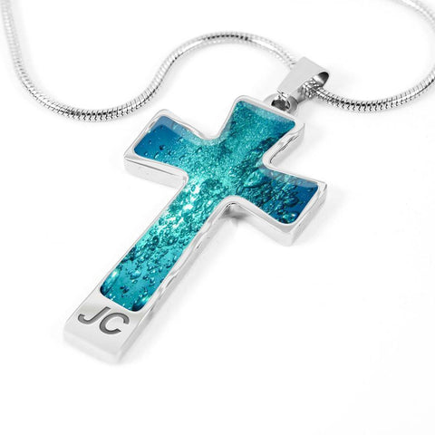 ShineOn Fulfillment Necklaces Pendant Cross Luxury Necklace (Silver) / No Luxury Steel Cross Pendant Necklace - Water Bubbles