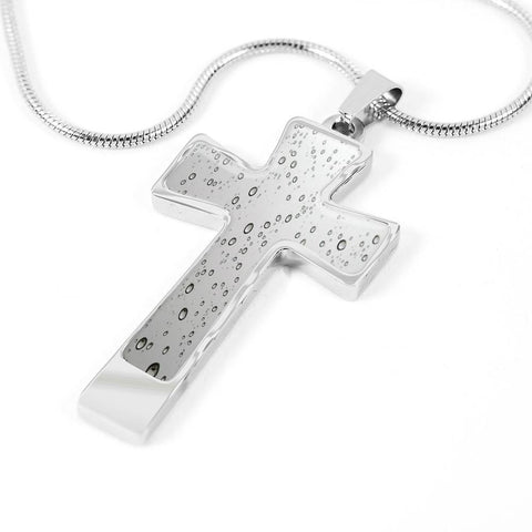 ShineOn Fulfillment Necklaces Pendant Cross Luxury Necklace (Silver) / No Luxury Steel Cross Pendant Necklace - Water Droplets