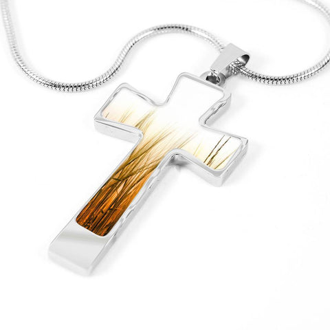 ShineOn Fulfillment Necklaces Pendant Cross Luxury Necklace (Silver) / No Luxury Steel Cross Pendant Necklace - Wheat Field