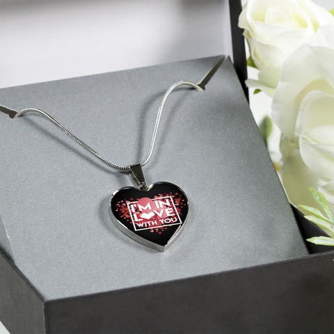Image of ShineOn Fulfillment Necklaces Pendant Heart Luxury Steel Pendant Necklace - In Love With You Black (Heart)