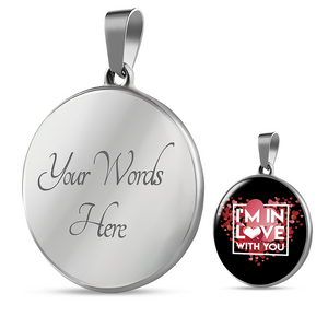 Luxury Steel Pendant Necklace - In Love With You Black (Round)