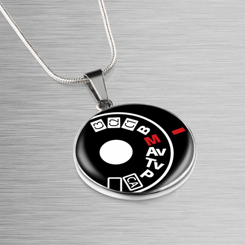 ShineOn Fulfillment Necklaces Pendant Round Luxury Steel Pendant Necklace - Camera Setting (Round)