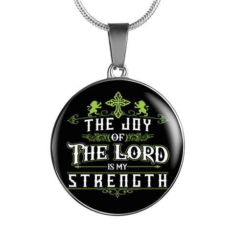 ShineOn Fulfillment Necklaces Pendant Round Luxury Steel Pendant Necklace - Joy Of The Lord (Round)
