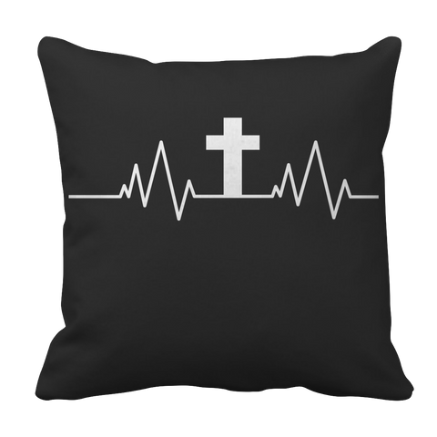 Image of PT Pillow Cases Pillow Cases / Black Christian Heartbeat Cross