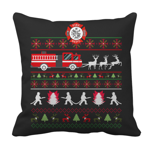 PT Pillow Cases Pillow Cases / Black Limited Edition - Firefighter Christmas