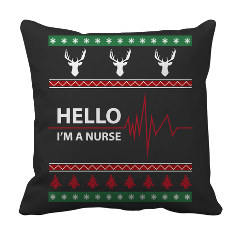 PT Pillow Cases Pillow Cases / Black Limited Edition - Hello I'm A Nurse Christmas