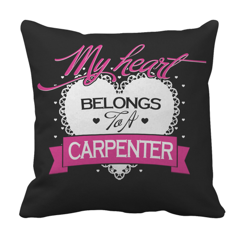 Image of PT Pillow Cases Pillow Cases / Black Limited Edition - My Heart Belongs to A Carpenter
