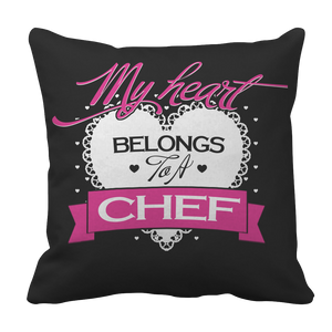PT Pillow Cases Pillow Cases / Black Limited Edition - My Heart Belongs to A Chef