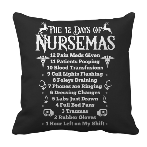 PT Pillow Cases Pillow Cases / Black Limited Edition - The 12 Days of Nursemas