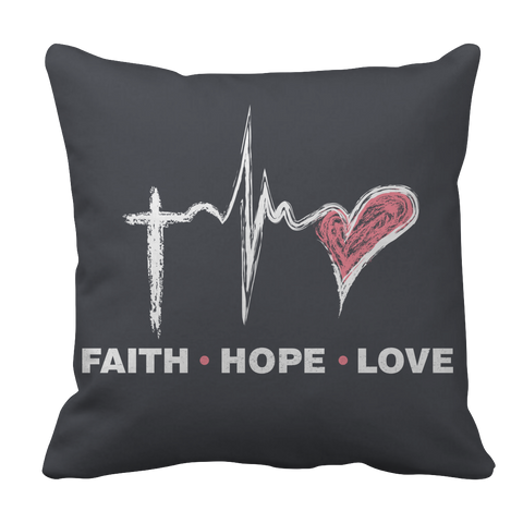 PT Pillow Cases Pillow Cases / Charcoal Faith Hope Love