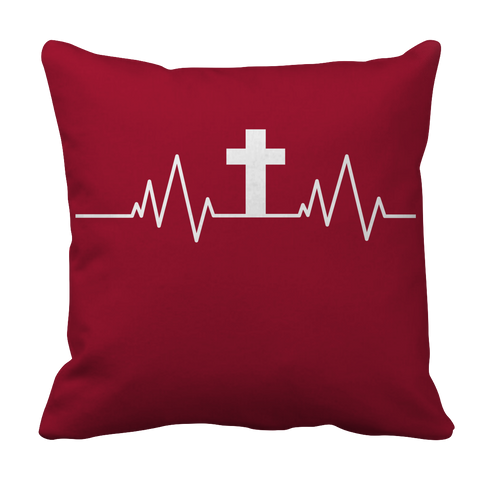 Image of PT Pillow Cases Pillow Cases / Crimson Christian Heartbeat Cross