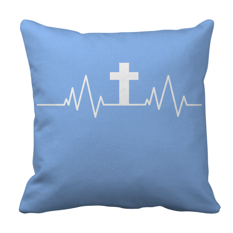 Image of PT Pillow Cases Pillow Cases / Light Blue Christian Heartbeat Cross