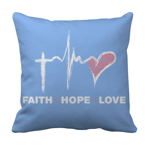 PT Pillow Cases Pillow Cases / Light Blue Faith Hope Love