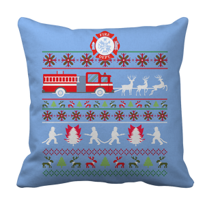 PT Pillow Cases Pillow Cases / Light Blue Limited Edition - Firefighter Christmas