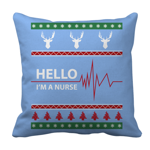 PT Pillow Cases Pillow Cases / Light Blue Limited Edition - Hello I'm A Nurse Christmas