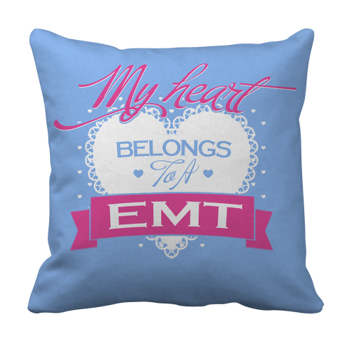 PT Pillow Cases Pillow Cases / Light Blue Limited Edition - My Heart Belongs to A EMT