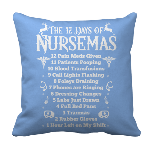PT Pillow Cases Pillow Cases / Light Blue Limited Edition - The 12 Days of Nursemas
