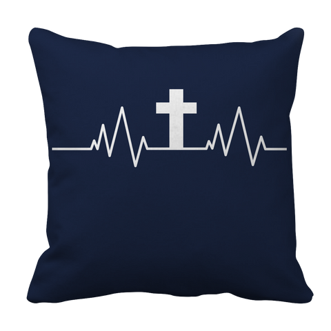 Image of PT Pillow Cases Pillow Cases / Navy Christian Heartbeat Cross